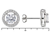 Cubic Zirconia Rhodium Over Sterling Silver Ring And Earrings Set 3.26ctw