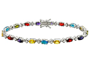 Multicolor Cubic Zirconia Rhodium Over Sterling Silver Bracelet 12.77ctw