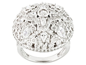 White Cubic Zirconia Rhodium Over Sterling Silver Ring 5.00ctw