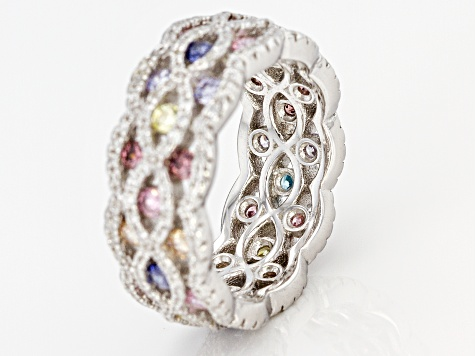 White/Lav/Yellow/Pink/Brown/Mocha/And Blue Cubic Zironia Rhodium Over Silver Ring 4.59ctw