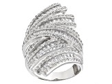Cubic Zirconia Rhodium Over Sterling Silver Ring 6.41ctw