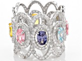 White/Lavender/Yellow/Pink/Blue Cubic Zirconia Rhodium Over Silver Ring 8.75ctw