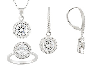 Cubic Zirconia Rhodium Over Silver Earrings Ring And Pendant With Chain 12.54ctw