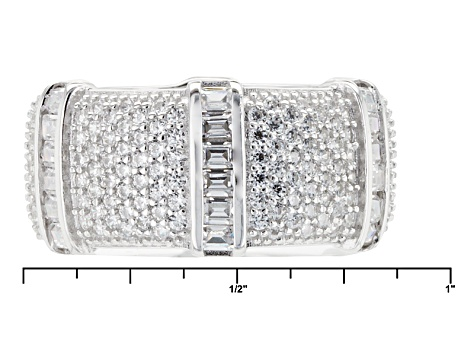 White Cubic Zirconia Rhodium Over Sterling Silver Ring 5.42ctw
