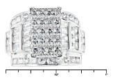 White Cubic Zirconia Rhodium Over Sterling Silver Ring 5.44ctw