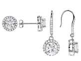 White Cubic Zirconia Rhodium Over Sterling Silver Earrings Set 11.23ctw