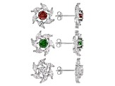 Pink Green And White Cubic Zirconia Rhodium Over Silver Earrings 12.71ctw