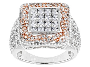 White Cubic Zirconia 18k Rose Gold Over Silver And Rhodium Over Silver Ring 2.63ctw