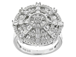 White Cubic Zirconia Rhodium Over Silver Ring 3.73ctw