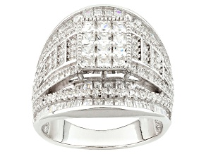 White Cubic Zirconia Rhodium Over Silver Ring 4.17ctw