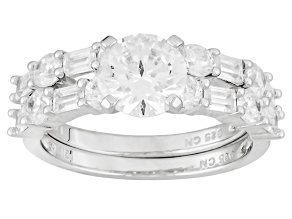 White Cubic Zirconia Rhodium Over Silver Ring With Band 4.88ctw