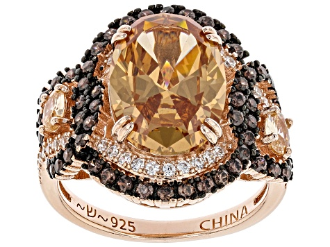 Brown And Mocha Cubic Zirconia 18k Rose Gold Over Silver Ring