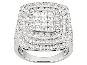 White Cubic Zirconia Rhodium Over Silver Ring 4.45ctw