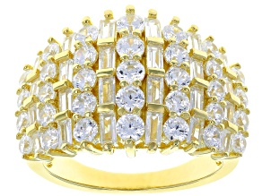 White Cubic Zirconia 18K Yellow Gold Over Sterling Silver Ring 5.30ctw