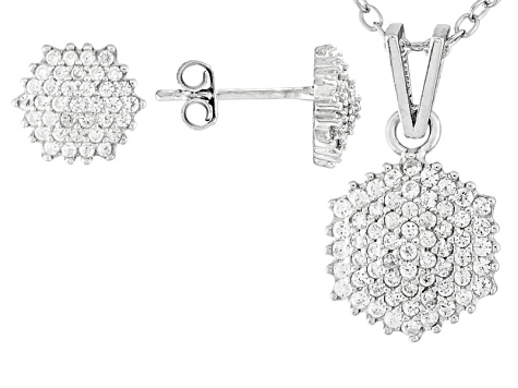 White Cubic Zirconia Rhodium Over Silver Earrings And Pendant With Chain 1.22ctw
