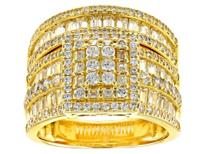White Cubic Zirconia 18k Yellow Gold Over Sterling Silver Ring With Band 4.32ctw