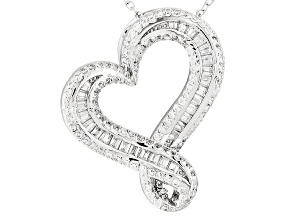 White Cubic Zirconia Rhodium Over Silver Pendant With Chain 1.90ctw