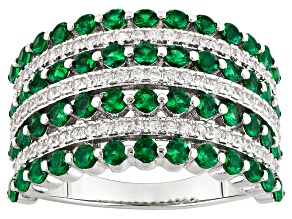 Green And White Cubic Zirconia Rhodium Over Silver Ring 2.21ctw