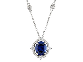 Blue And White Cubic Zirconia Rhodium Over Silver Pendant With Chain 7.82ctw