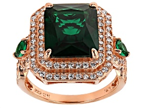 Green And White Cubic Zirconia 18k Rose Gold Over Silver Ring 13.11ctw