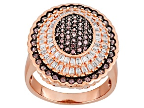Brown And White Cubic Zirconia 18k Rose Gold Over Silver Ring 2.66ctw