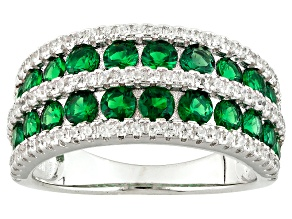 Green And White Cubic Zirconia Rhodium Over Silver Ring 2.00ctw