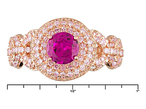 Pink And Red Cubic Zirconia 18k Rg Over Silver Ring 2.64ctw