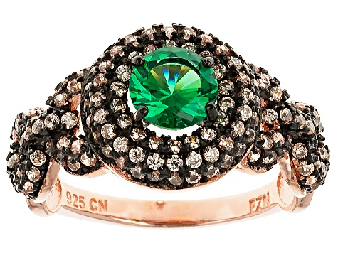 Green And Brown Cubic Zirconia 18k Rose Gold Over Silver Ring 2.64ctw