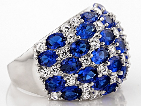 Lab Blue Spinel And White Cubic Zirconia Rhodium Over Sterling Silver Ring 11.66ctw