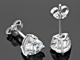 White Cubic Zirconia Rhodium Over Silver Heart Jewelry Set 14.50ctw