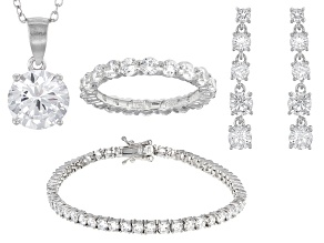 White Cubic Zirconia Rhodium Over Silver Jewelry Set 22.80ctw