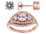 White Cubic Zirconia 18k Rose Gold Over Sterling Silver Ring And Earrings 2.42ctw