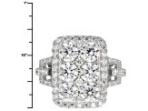 White Cubic Zirconia Rhodium Over Silver Ring 4.66ctw