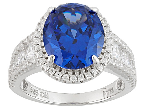 Blue And White Cubic Zirconia Rhodium Over Silver Ring 10.01ctw