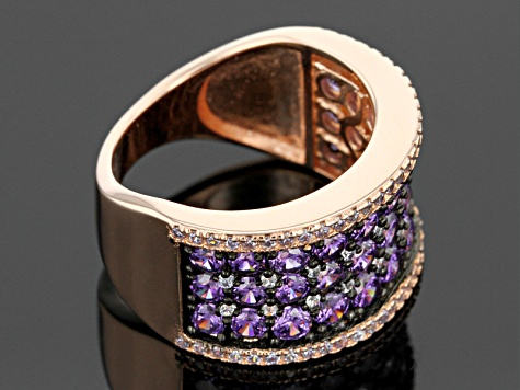 Purple And White Cubic Zirconia 18k Rose Gold Over Silver Ring 4.65ctw