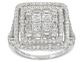 White Cubic Zirconia Rhodium Over Silver Ring 3.07ctw