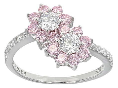 Pink And White Cubic Zirconia Rhodium Over Silver Ring And Earrings 3.17ctw