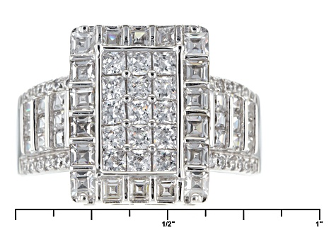 White Cubic Zirconia Rhodium Over Silver Ring 3.57ctw