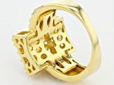 White Cubic Zirconia 18k Yellow Gold Over Silver Ring 3.57ctw