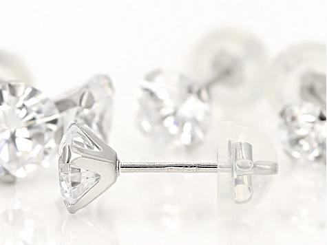 White Cubic Zirconia 10kt White Gold Earrings 5.04ctw