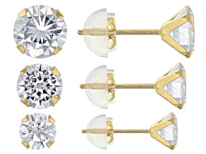 White Cubic Zirconia 10k Yellow Gold Earrings 5.04ctw