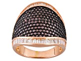 Brown And White Cubic Zirconia 18k Rg Over Silver Ring 3.88ctw