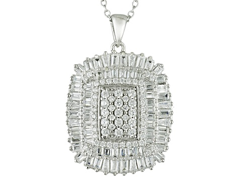 White Cubic Zirconia Rhodium Over Silver Pendant With Chain 3.92ctw