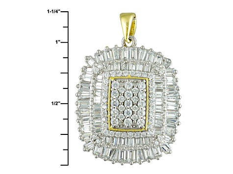White Cubic Zirconia 18k Yg And Rhodium Over Sterling Silver Pendant With Chain 3.92ctw