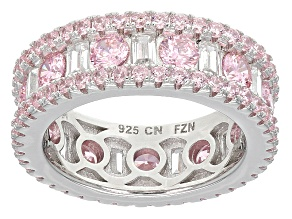 Pink And White Cubic Zirconia Rhodium Over Silver Ring 7.18ctw