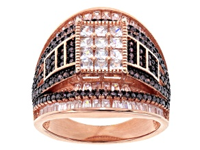 Brown And White Cubic Zirconia 18k Rose Gold Over Silver Ring 4.15ctw