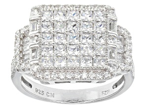 White Cubic Zirconia Rhodium Over Silver Ring 3.91ctw