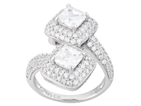 White Cubic Zirconia Rhodium Over Sterling Silver Ring 3.49ctw