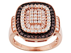 Brown And White Cubic Zirconia 18k Rose Gold Over Sterling Silver Ring 1.87ctw