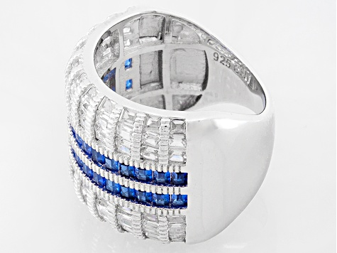 Blue And White Cubic Zirconia Rhodium Over Sterling Silver Ring 5.82ctw